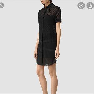 Allsaints Black Eyelet Button-Down Dress